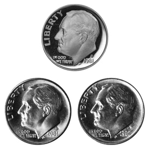 1981 P D S Roosevelt Dime 10c Year set Proof & BU US 3 Coin lot