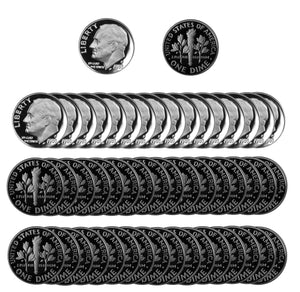 1983 S Roosevelt Dime Gem Deep Cameo Proof CN-Clad Roll (50 Coins)