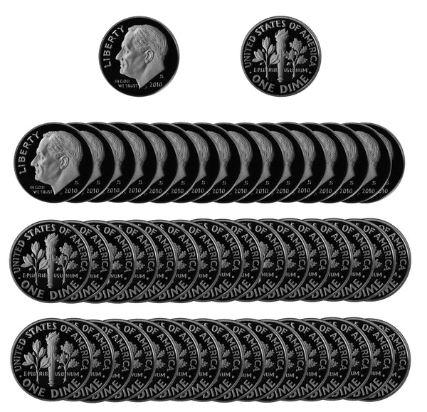 2010 S Roosevelt Dime Gem Deep Cameo Proof CN-Clad Roll (50 Coins)