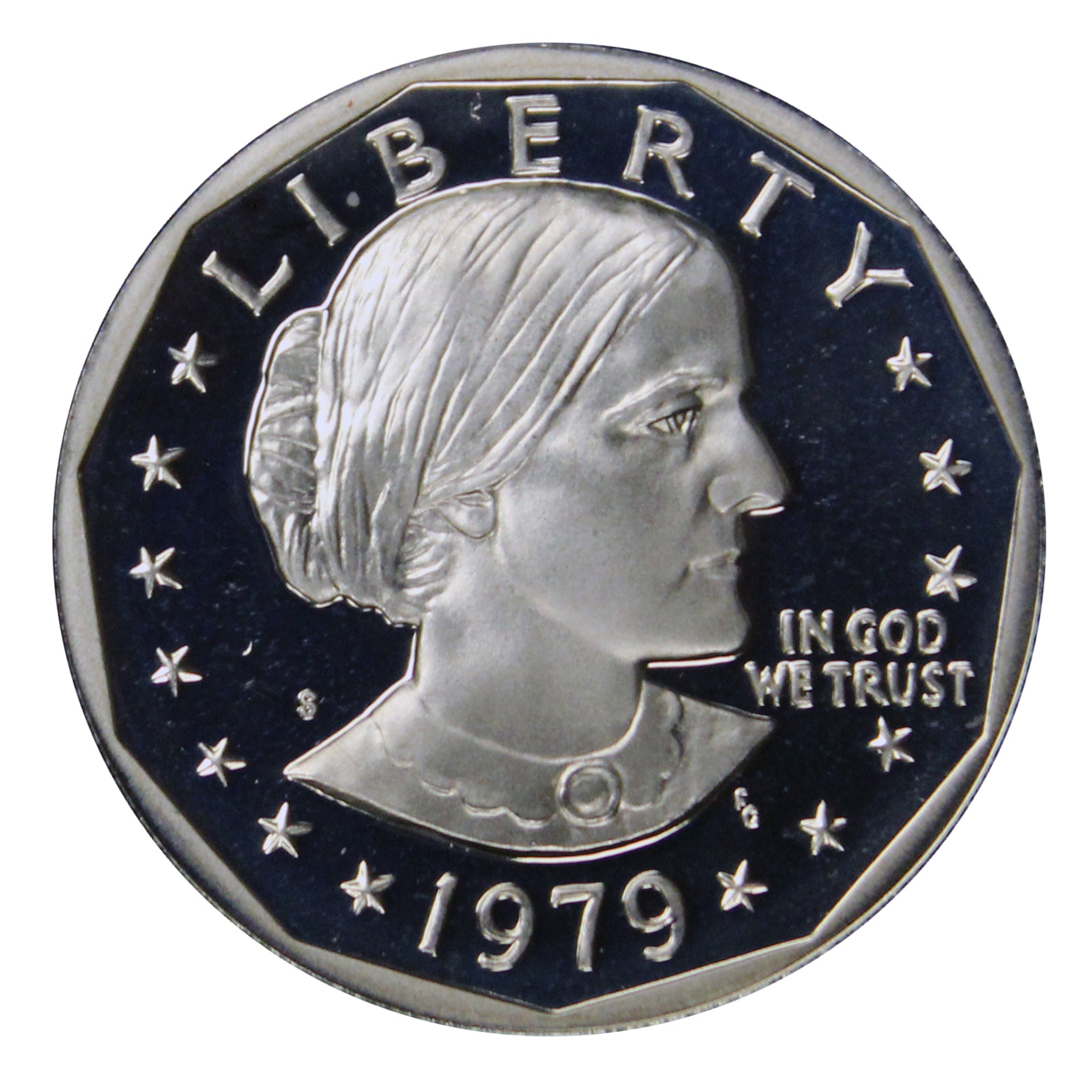1979 S Susan B Anthony Dollar Gem DCAM Proof CN-Clad Type 2 (Clear S)