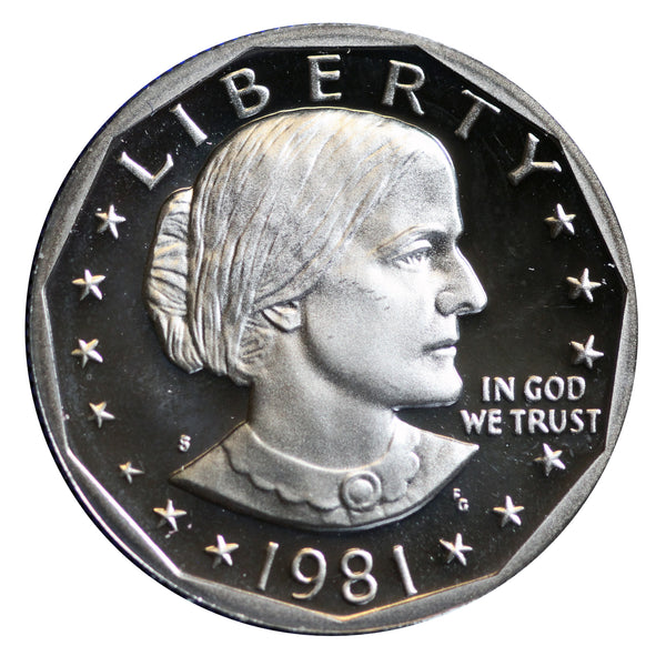 1981 S Susan B Anthony Dollar Gem Deep Cameo Proof Roll CN-Clad (20 Coins) Type 2 (Clear S)