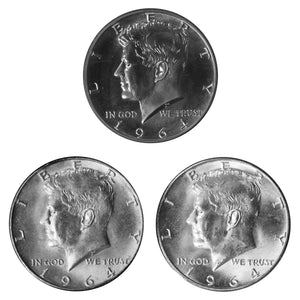 1964 P P D Kennedy Half Dollar 50c Year set Proof & BU US 3 Coin lot