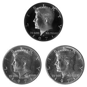 1971 P D S Kennedy Half Dollar 50c Year set Proof & BU US 3 Coin lot