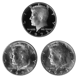 1973 P D S Kennedy Half Dollar 50c Year set Proof & BU US 3 Coin lot