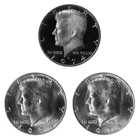 1974 P D S Kennedy Half Dollar 50c Year set Proof & BU US 3 Coin lot