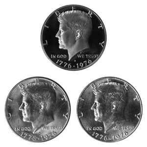 1976 P D S Kennedy Half Dollar 50c Year set Proof & BU US 3 Coin lot