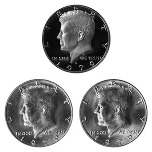 1979 P D S Kennedy Half Dollar 50c Year set Proof & BU US 3 Coin lot