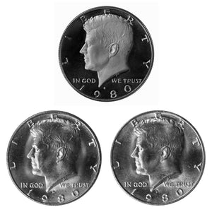 1980 P D S Kennedy Half Dollar 50c Year set Proof & BU US 3 Coin lot