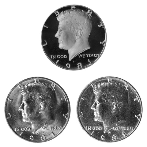 1981 P D S Kennedy Half Dollar 50c Year set Proof & BU US 3 Coin lot