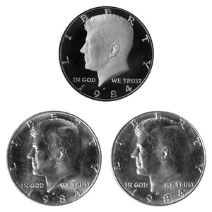 1984 P D S Kennedy Half Dollar 50c Year set Proof & BU US 3 Coin lot