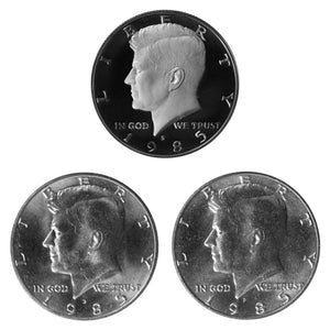 1985 P D S Kennedy Half Dollar 50c Year set Proof & BU US 3 Coin lot