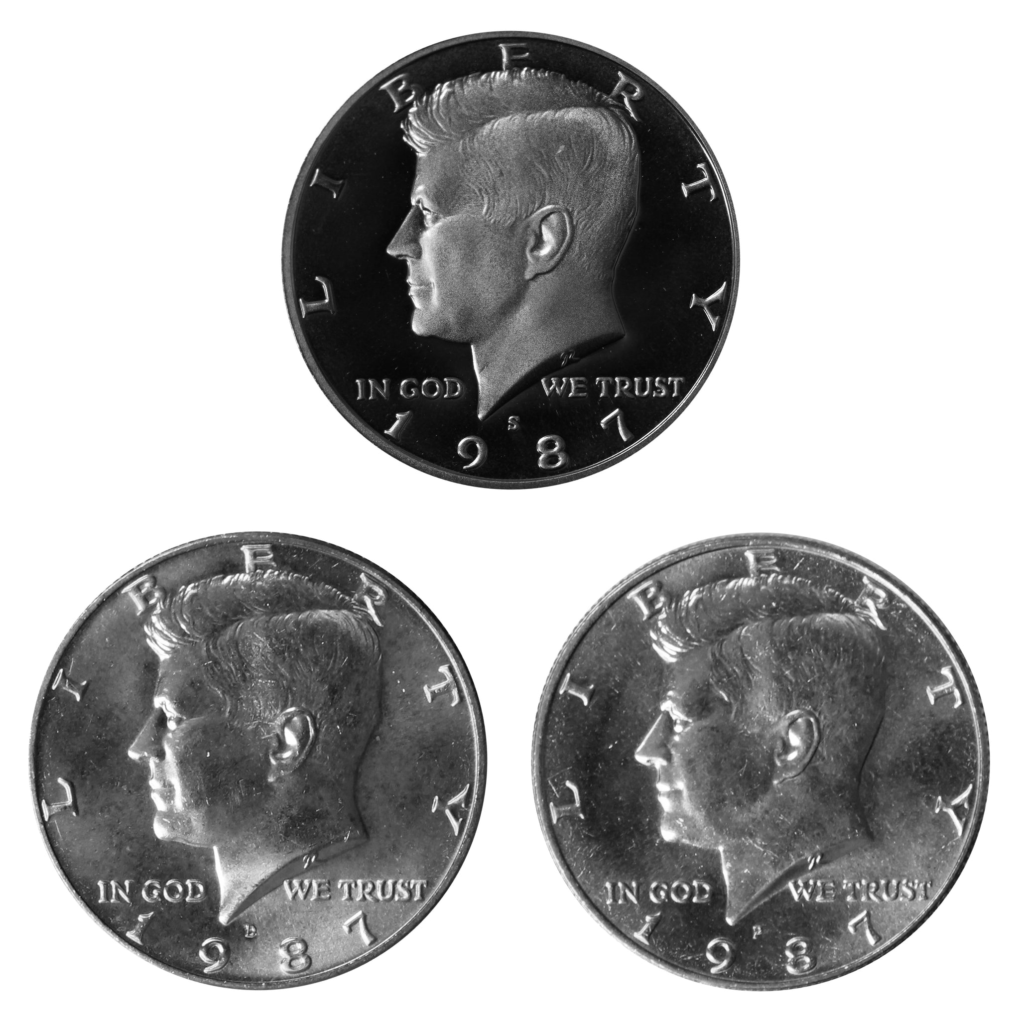 1987 P D S Kennedy Half Dollar 50c Year set Proof & BU US 3 Coin lot