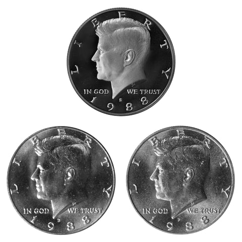 1988 P D S Kennedy Half Dollar 50c Year set Proof & BU US 3 Coin lot