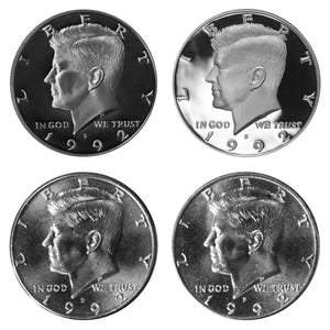 1992 P D S S Kennedy Half Dollar Year set Silver & Clad Proof & BU US 4 Coin lot
