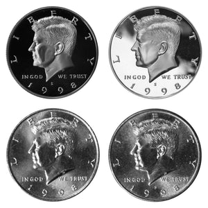 1998 P D S S Kennedy Half Dollar Year set Silver & Clad Proof & BU US 4 Coin lot
