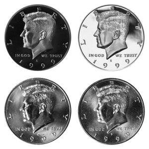 1999 P D S S Kennedy Half Dollar Year set Silver & Clad Proof & BU US 4 Coin lot