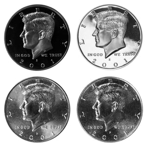 2001 P D S S Kennedy Half Dollar Year set Silver & Clad Proof & BU US 4 Coin lot