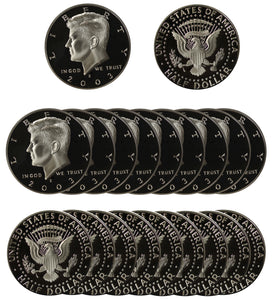 2003 S Kennedy Half Dollar Gem Proof Roll CN-Clad (20 Coins)