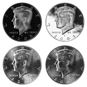 2005 P D S S Kennedy Half Dollar Year set Silver & Clad Proof & BU US 4 Coin lot