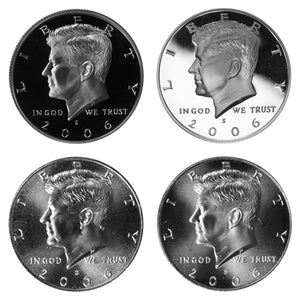 2006 P D S S Kennedy Half Dollar Year set Silver & Clad Proof & BU US 4 Coin lot