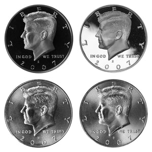 2007 P D S S Kennedy Half Dollar Year set Silver & Clad Proof & BU US 4 Coin lot