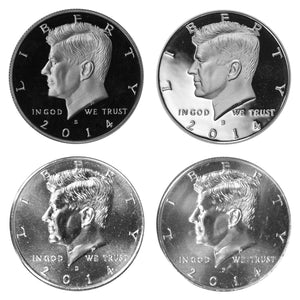 2014 P D S S Kennedy Half Dollar Year set Silver & Clad Proof & BU US 4 Coin lot