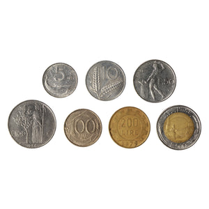 Italy Pre-Euro Circulated Type Set 7 coins