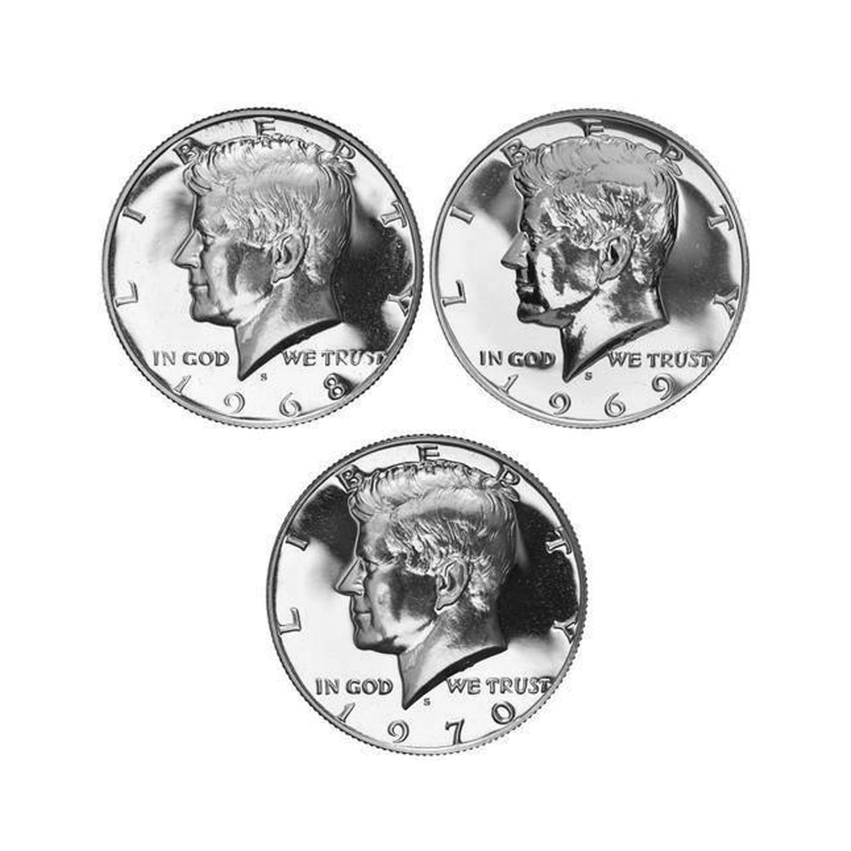 1968-1970 S Proof Kennedy Half Dollar Run 40% Silver 3 Coins