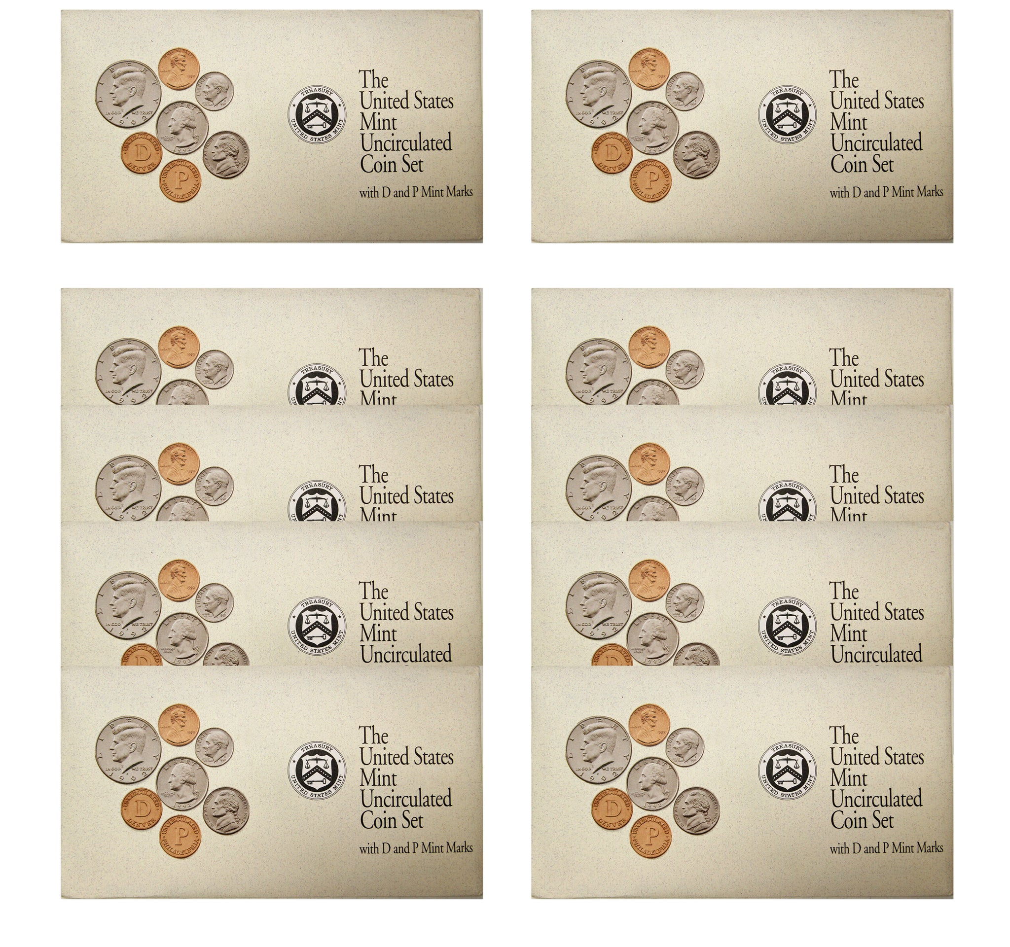1992 PD US Mint set 10 Pack (OGP) 100 coins