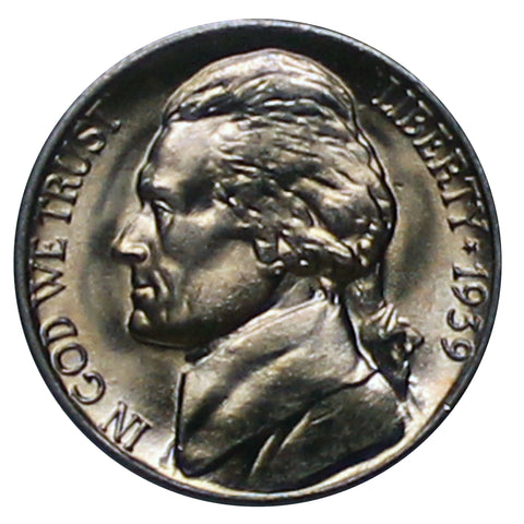 1939 -S Jefferson Nickel (wavy steps V1) - Choice/Gem BU US Coin
