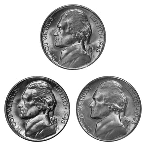 1943 P D S Jefferson Silver War Nickel Year set Choice / Gem BU US 3 Coin lot