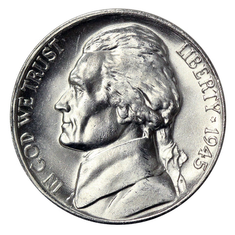 1945 -D Silver War Jefferson Nickel - Choice/Gem BU US Coin