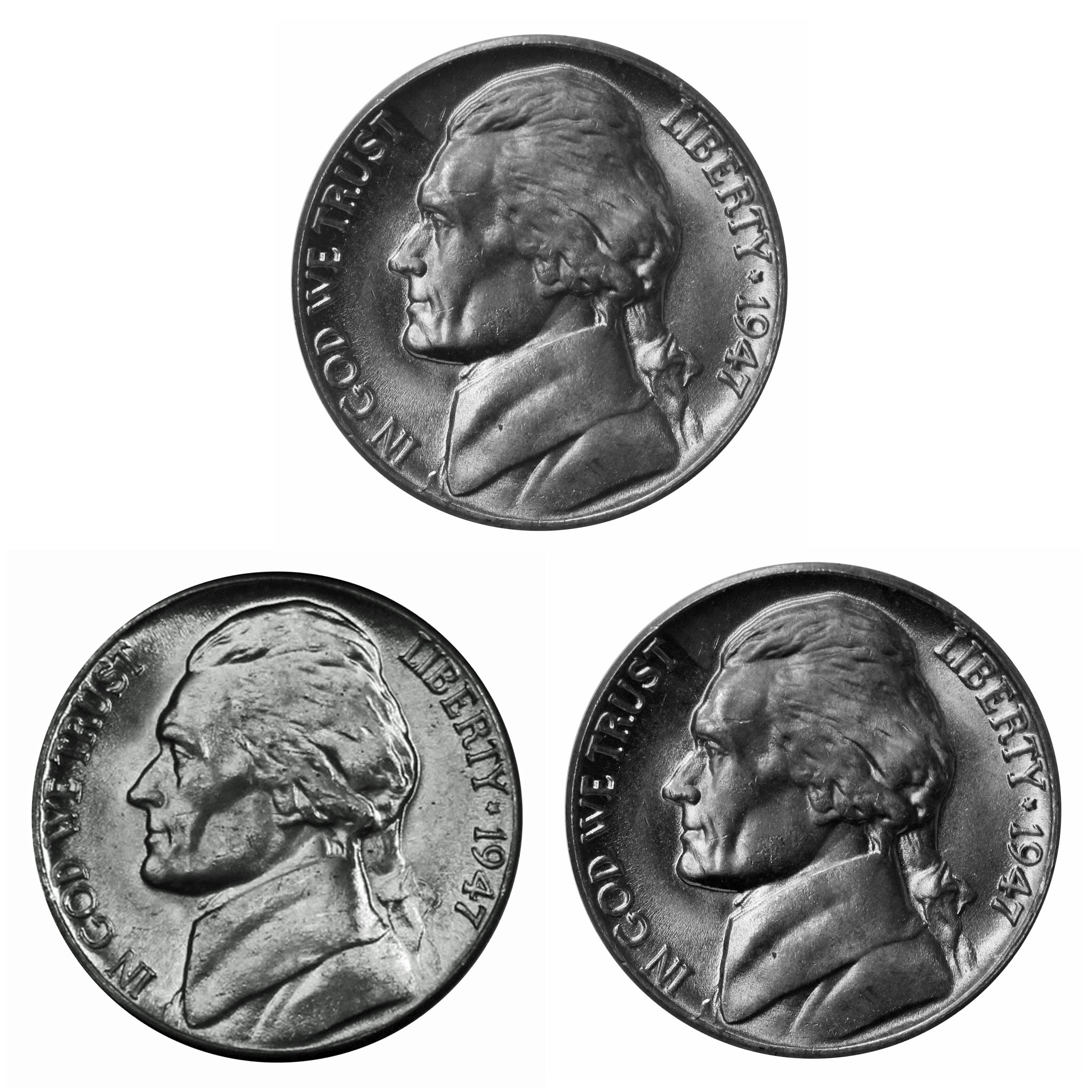 1947 P D S Jefferson Nickel Year set Choice / Gem BU US 3 Coin lot