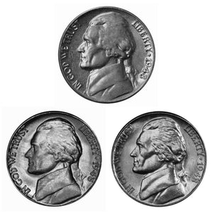 1948 P D S Jefferson Nickel Year set Choice / Gem BU US 3 Coin lot