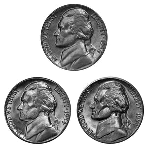 1954 P D S Jefferson Nickel Year set Choice / Gem BU US 3 Coin lot
