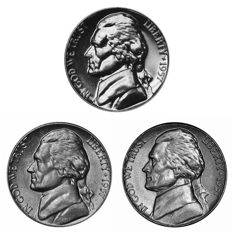 1957 P D S Jefferson Nickel 5c Year set Proof & BU US 3 Coin lot