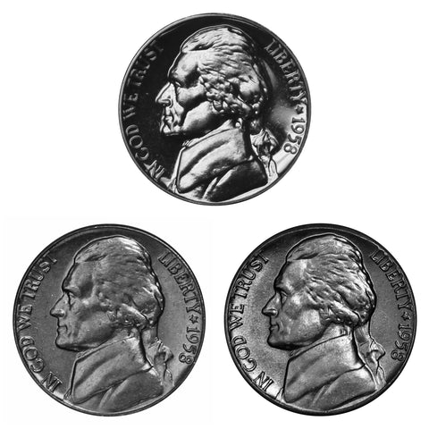1958 P P D Jefferson Nickel 5c Year set Proof & BU US 3 Coin lot