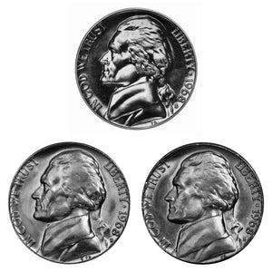 1968 D S S Jefferson Nickel 5c Year set Proof & BU US 3 Coin lot