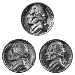 1969 D S S Jefferson Nickel 5c Year set Proof & BU US 3 Coin lot