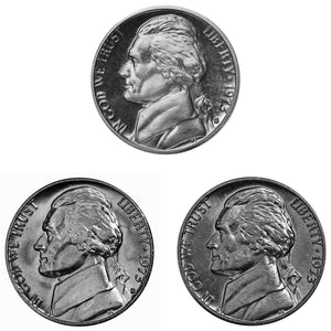 1973 P D S Jefferson Nickel 5c Year set Proof & BU US 3 Coin lot