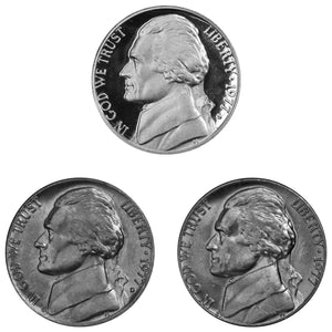 1977 P D S Jefferson Nickel 5c Year set Proof & BU US 3 Coin lot
