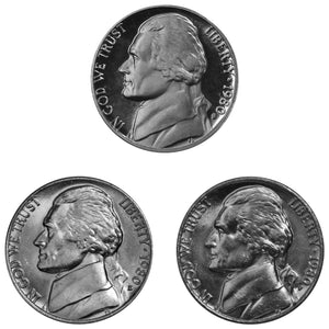 1980 P D S Jefferson Nickel 5c Year set Proof & BU US 3 Coin lot