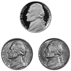 1982 P D S Jefferson Nickel 5c Year set Proof & BU US 3 Coin lot