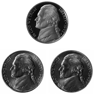 1993 P D S Jefferson Nickel 5c Year set Proof & BU US 3 Coin lot