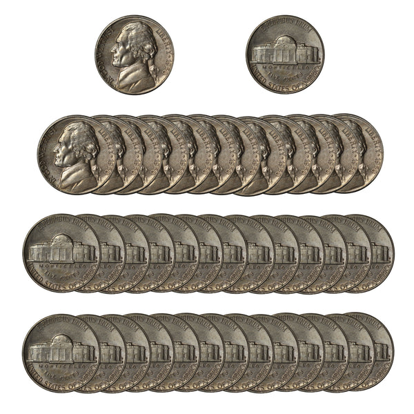 1950 D Jefferson Nickel Circulated Roll (40 Coins) (VG - AU)