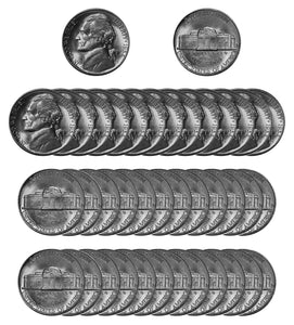 1938 D Jefferson Nickel Choice/Gem BU Roll (40 Coins)