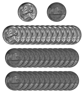 1942 P Jefferson Nickel Choice/Gem BU Roll (40 Coins)