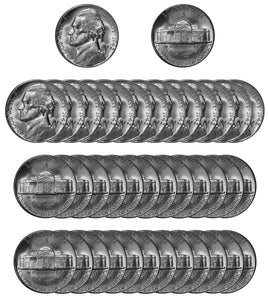 1942 S Silver Jefferson Nickel Choice/Gem BU Roll (40 Coins)