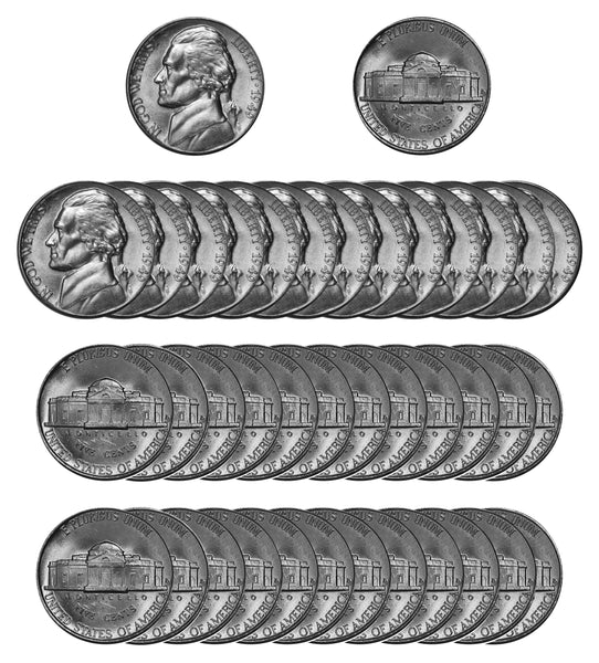 1949 D Jefferson Nickel Choice/Gem BU Roll (40 Coins)