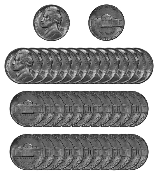 1953 P Jefferson Nickel Choice/Gem BU Roll (40 Coins)